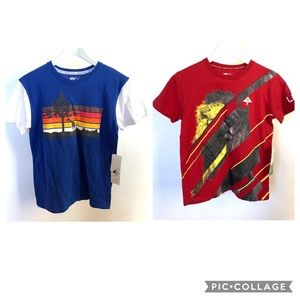 2 Boys LRG Graphic Tee T Shirts Red Blue
